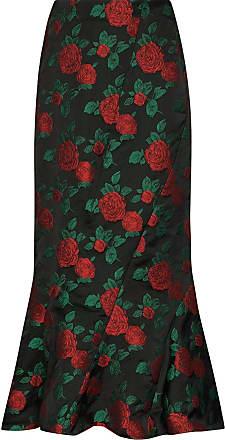 Yuhan Wang rose-print midi skirt - Preto