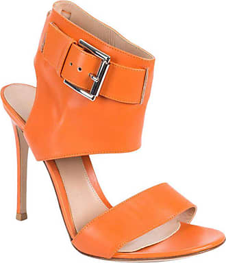 54f6cc261e9 Gianvito Rossi Orange Ankle Buckle Gladiator Heel Sandals