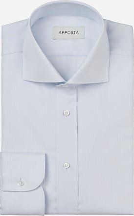 Apposta Camicia tinta unita celeste 100% cotone anti-macchia twill doppio ritorto oekotex, collo stile francese