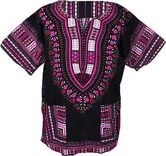 Lofbaz African Dashiki Shirts for Men Women Hippie T Shirt Festival Clothing Print Boho Top 70s Tribal Africa Clothes Black & Pink S