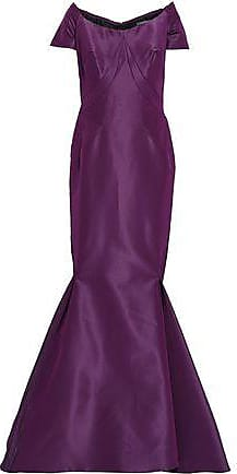 1d91055459c9 Zac Posen Zac Posen Woman Off-the-shoulder Flared Silk-taffeta Gown Purple