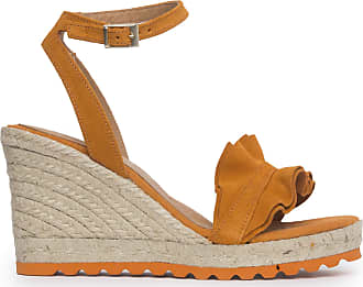 Vienty Suede Mandarin Suede Split Sandal Orange Size: 5 UK
