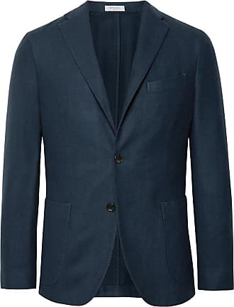 Boglioli Navy K-jacket Slim-fit Garment-dyed Felted Wool Blazer - Blue