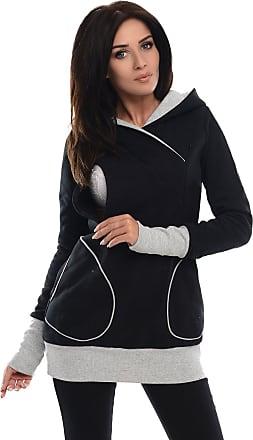 Purpless Maternity 2in1 Pregnancy Nursing Sweatshirt Hoodie Pregnant Breastfeeding Woman Hooded Top 9056 (14, Black)