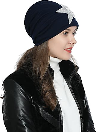 DonDon Womens Jersey Slouch Beanie with Sequins Star Soft and Suitable for Heads Dark Blue