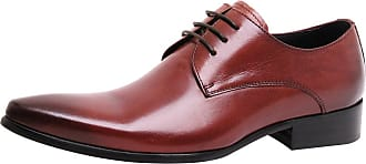 Jamron Mens High-End Custom Derby Lace-Ups Genuine Leather Dress Shoes Pointed-Toe Oxfords Formal Shoes Brown SN01721 UK8
