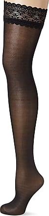 Fiore Luxury Super Fine 40 Denier Satin Gloss Lace Top Hold Ups (Medium, Black)