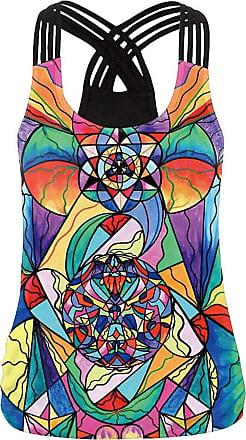 Yvelands Vest Tops Women Boho Multicolor Printed Round Neck Racerback Cross Strap Splice Sleeveless Tank Tops T-Shirt