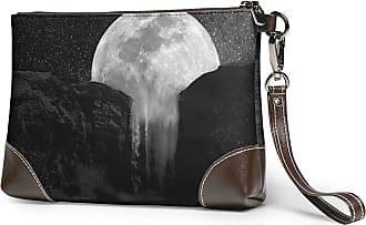 GLGFashion Womens Leather Wristlet Clutch Wallet Mobile Moon Painting Storage Purse With Strap Zipper Pouch
