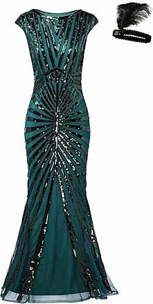 General Selection Formal Evening Dress 1920s Sequin Mermaid Maxi Long Flapper Gown Party (Green, M)