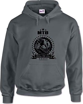Bang Tidy Clothing Kicking Up Dust Mountain Biking MTB Mens Hoodie- Dark Grey-XXL