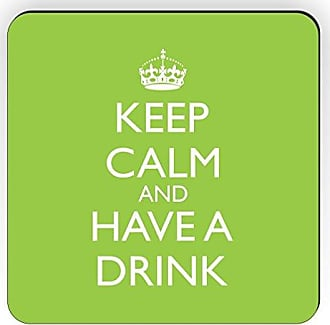 Rikki Knight Rikki Knight Keep Calm and Have a Drink Design Square Fridge Magnet, Lime Green