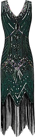 YYW 1920s V Neck Beaded Sequin Flapper Gatsby Dress with Tassel for Evening Party Prom Cocktail (Green,Xl)