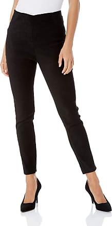 Roman Originals Women Faux Suede Stretch Trousers - Ladies Full Length Suedette Faux Leather Long Smart Casual Party Evening Comfortable Comfy Trousers Pants - Black