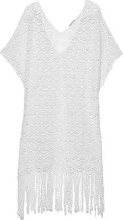 Eberjey Eberjey Woman Fringed Crocheted Cotton Coverup White Size S/M