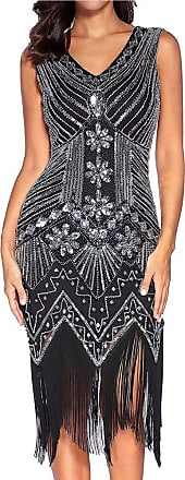 YYW 1920s V Neck Beaded Sequin Flapper Gatsby Dress with Tassel for Evening Party Prom Cocktail (Black,XXL)