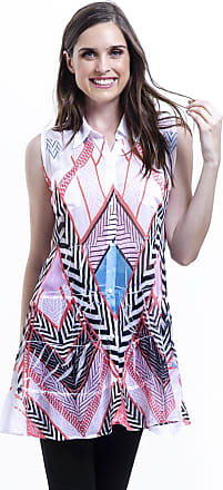 434847d30 101 Resort Wear Chemise 101 Resort Wear Vestido sem mangas Babados Estampa  Grafismos Rosa