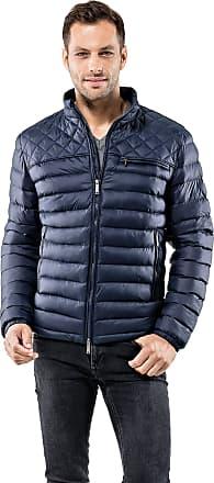 Vincenzo Boretti Mens Jacket Slim-fit Fitted Quilted Soft Long-Sleeve Lightweight Warm Smart Elegant Men Designer Padded Jacket Dark Blue M