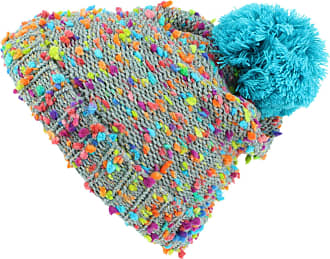 Hawkins Childrens Grey Beanie Bobble Hat with Rainbow Fleck - Blue Bobble