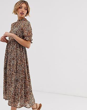 Y.A.S Kleid mit Animal-Print-Braun