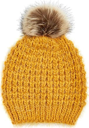 Roman Originals Women Embellished Faux Fur Pom Pom Beanie Hat - Ladies Casual Autumn Winter Hats Cosy Cold Weather for Her Bonfire Night New Year Occasion - Amber - S