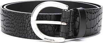 Diesel Cinto com efeito de pele de crocodilo - Preto