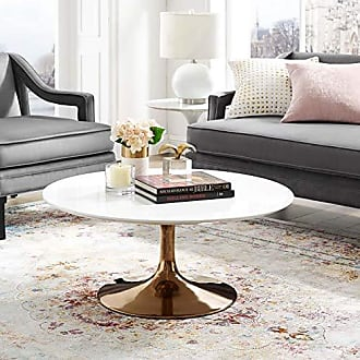 ModWay Lippa Mid-Century Modern 36 Round Coffee Table With White Top and Rose Gold Base