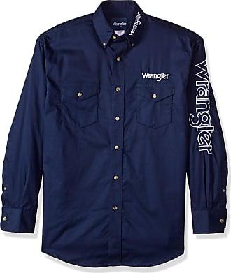 Wrangler Mens Logo Two Pocket Sleeve Shirt Button, Navy, Medium