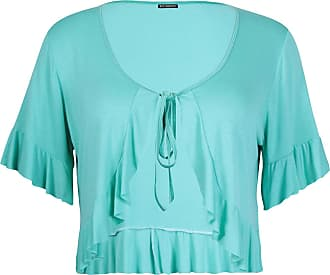 Purple Hanger Womens Short Sleeve Ladies Stretch Frill Front Neck Tie Cropped Plain Cardigan Bolero Shrug Top Plus Size Mint Green 20 - 22