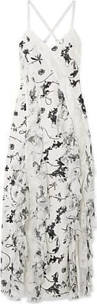 Alice & Olivia Jayda Lace-trimmed Ruffled Floral-print Silk Crepe De Chine Maxi Dress - White