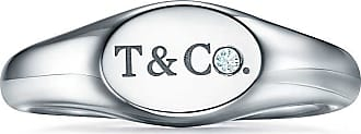 Tiffany & Co. Tiffany & Co micro oval signet ring in white gold with diamonds, 6 mm wide - Size 7