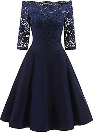 Damen Kleid Glockenkleid der Spitzenmuster Minikleid als Carmen Ausschnitt