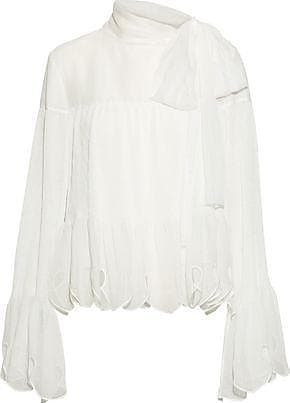 See By Chloé See By Chloé Woman Bow-detailed Chiffon Top White Size 40