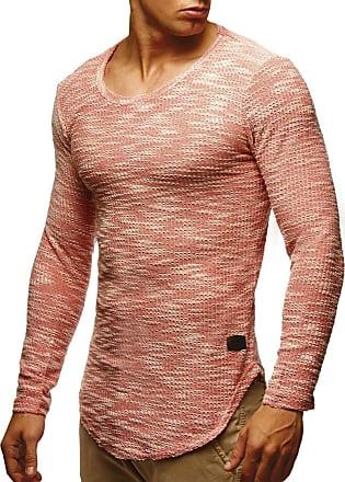 LEIF NELSON Mens Sweater Long Sleeve Crew Neck Sweatshirt LN-6358 Salmon Pink X-Large
