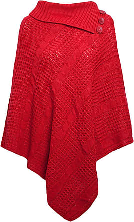 ZEE FASHION Women Ladies Long Knitted 3 Button Poncho Cape Shawl Wrap Jumper Top Red