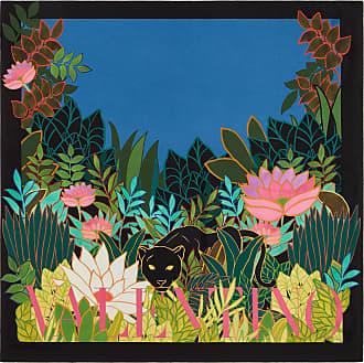 Valentino Garavani Valentino Garavani Silk Twill Foulard With Panther In The Jungle Print 90x90 Cm / 35.4x35.4 In. Women Blue Silk 100% OneSize