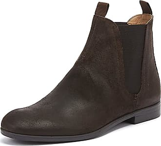 c222135ab Hudson Mens H Atherstone Waxed Suede Work Office Smart Ankle Boots - Brown  - 8