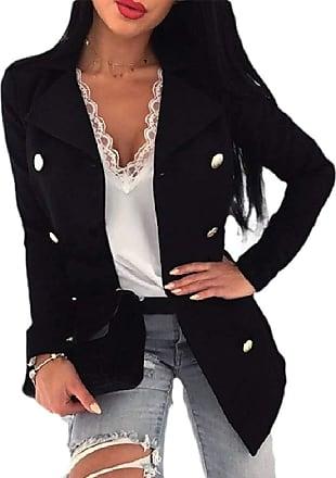 VITryst Women Solid Work Office Long Sleeve Woolen Blazer Open Front Jacket Coat,Black,XX-Large