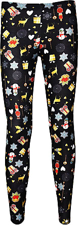 Insanity Ladies Christmas X-Mas Presents Snowmen Nutcrackers Print Leggings (L/XL) Black