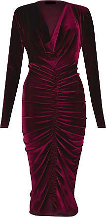 Momo & Ayat Fashions Ladies Ladies Celebrity Style Velvet Plunged V-Neck Ruched Front Bodycon Dress UK Size 8-26 (Wine, L/XL (UK 16-18))