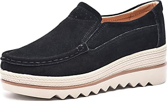 Daytwork Shoes Women Loafers - Round Toe Platform Wedge Casual Classic Comfort Slip on Suede Moccasins Fashion Sneakers Black