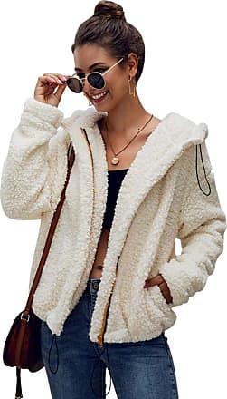 YYW Womens Soft Loose Teddy Fur Coat Sherpa Jacket Zip Hoodies Outwear with Pockets (Beige,XL)