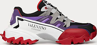 Valentino Garavani Valentino Garavani Uomo Climbers Sneaker In Leather And Fabric Man Purple Calfskin 100% 39.5