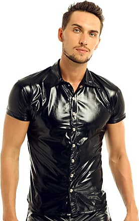 TiaoBug iEFiEL Mens PVC Leather Wet Look Short Sleeves Button Down T-Shirts Nightclub Shirts Black XX-Large