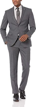 Original Penguin Mens Slim Fit Suit Dress Set, Medium Grey Check, 38 Regular