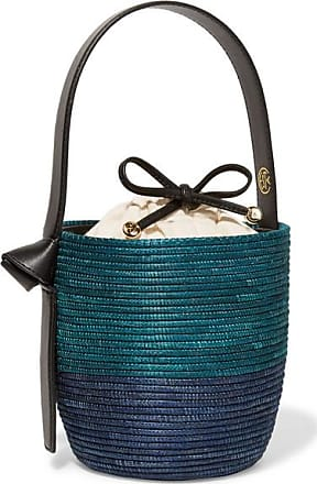 Cesta Collective Lunchpail Leather-trimmed Woven Sisal Bucket Bag - Navy