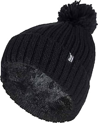 Heat Holders Ladies Thick Chunky Ribbed Cuffed Thermal Insulated Winter Pom Pom Bobble Hat (One Size, Black (Arden))