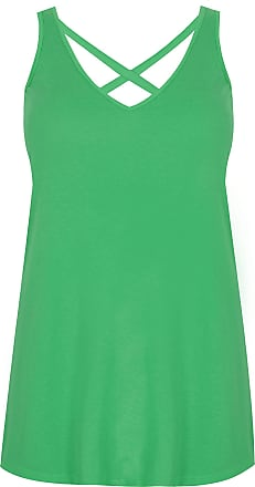 Yours Clothing Womens Sleeveless Plain Cross Back Vest Top Tee Tshirt Plus Size 16-32 Size 18 Green