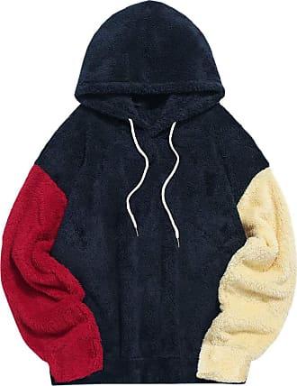 Zaful Mens Colour Blocking Fuzzy Hoodie Unisex Sherpa Loose Fluffy Sweatshirt - - XXL