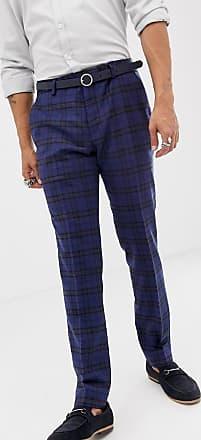 Twisted Tailor Pantaloni da abito super skinny in lana a quadri scozzesi blu